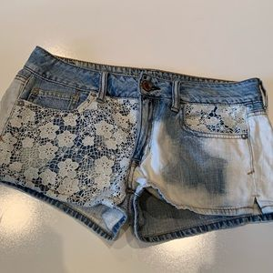 American Eagle bleached jean shorts with lace 6